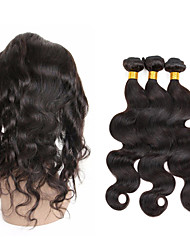 cheap -8A Peruvian Hair Weave 3 Bundles Body Wave with 360 Lace Frontal Band Closure