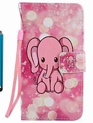 economico -Portafoglio portabicchiere custodia porta carte con custodia in tessuto completo con elefante stylu cuoio duro per mela iphone 7 plus 7 6s