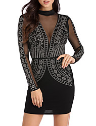 Women's Party Club Sexy Street chic Mesh Hot Fix Rhinestone Bodycon DressPatchwork Crew Neck Mini Long Sleeve Spring Fall High Rise