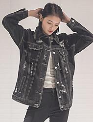 Sign hole bf loose Korean version of the new retro style denim jacket female wild black washed denim