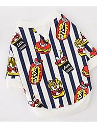 Cane T-shirt Abbigliamento per cani Traspirante Romantico Casual Rigato Rosso Nero/Bianco Costume Per animali domestici