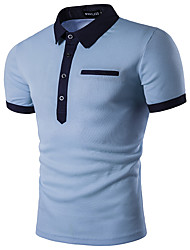 cheap -Men's Business Active Street chic Slim Polo - Solid Colored Shirt Collar