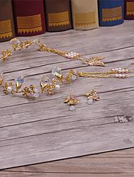 Lega d'ottone di cristallo imitazione perla cappella-matrimonio occasione occasionale tiaras casual 3 pezzi