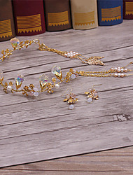 Brass Crystal Imitation Pearl Alloy Tiaras Headpiece