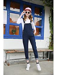coreano svago collegio vento giocoso ricamo tuta dolce denim bretelle pantaloni pezzo marea femminile