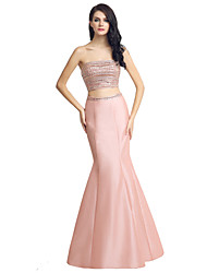 cheap -Mermaid / Trumpet Two Piece Strapless Floor Length Satin Formal Evening Dress with Beading by Sarahbridal