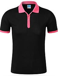 cheap -Men's Work Active Cotton T-shirt - Color Block Shirt Collar / Short Sleeve
