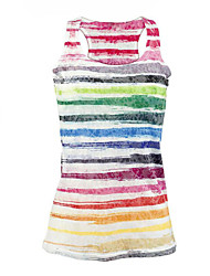 cheap -Women's Daily Beach Street chic Summer Tank Top,Rainbow Round Neck Sleeveless Polyester Medium