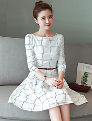 Large spot real shot spring models waist dress was thin Korean version of women's plaid long paragraph dress