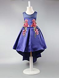 abito da sera vestito asimmetrico da ragazza di fiore - collo di gioiello senza maniche in raso con pieghe di ricamo da ydn