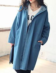 Large size women's long sleeve hooded bat sleeve loose long sections denim jacket
