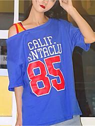 реальный выстрел корейский хит цвет письмо 85 цифровых спорт наклонный строп длинный участок поддельные два с короткими рукавами футболки