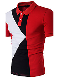cheap -Men's Active Cotton Slim Polo - Color Block Mixed Color Shirt Collar