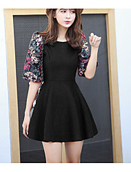 Model real shot 2017 spring woolen sleeve dress lantern sleeve dress dress skirt women were slow