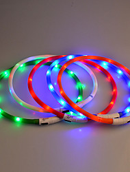 cheap -Dog Collar LED Lights Safety Solid Rubber Purple Yellow Red Blue Pink