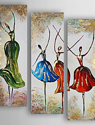 cheap -Hand-Painted  Abstract Dancers Set of 3 Canvas Oil Painting With Stretcher For Home Decoration Ready to Hang