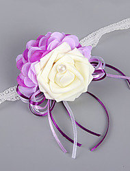 abordables -Fleurs de mariage Forme libre Roses Pivoines Petit bouquet de fleurs au poignet Mariage La Fête / soirée Satin