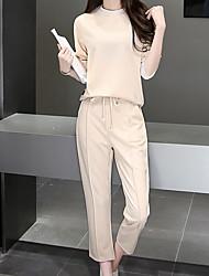 T-shirt Pantalone Completi abbigliamento Da donna Per uscire Casual Ufficio Semplice Divertente All Seasons Estate,Tinta unita Rotonda