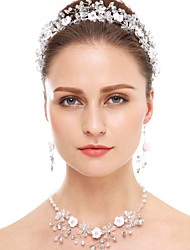 Crystal Rhinestone Wedding Party Special Occasion Crystal Rhinestone Ceramic Hair Jewelry 1 Necklace 1 Pair of Earrings