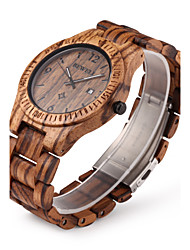 cheap -Men's Wrist watch Unique Creative Watch Wood Watch Quartz Japanese Quartz Calendar / date / day Wood Band Luxury Brown