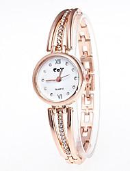Недорогие -Жен. Часы-браслет Китайский Кварцевый Имитация Алмазный Повседневные часы сплав Группа Мода Золотистый