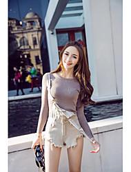 Знак Япония и юг Корея 2017 весна новый сплошной цвет рукавов бахрома потертый джинсовый ремешок часть шорты