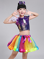 Shall We Jazz Outfits Kid Spandex 3 Pieces Dance Costume Elegant Style