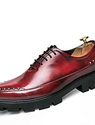 Da uomo Scarpe Di pelle Primavera Estate Autunno Inverno Comoda Stivaletti alla caviglia Oxfords Footing Borchie Lacci Per Matrimonio