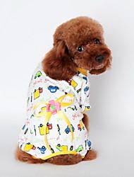 abordables -Chat Chien Tee-shirt Pyjamas Vêtements pour Chien Bande dessinée Jaune Bleu Rose Coton Costume Pour les animaux domestiques Homme Femme
