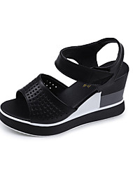 Women's Heels Comfort PU Spring Summer Office & Career Dress Comfort Hook & Loop Wedge Heel White Black 2in-2 3/4in