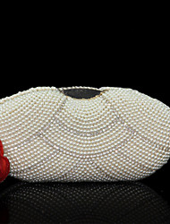 Women Bags All Seasons PU Evening Bag Imitation Pearl Crystal/ Rhinestone for Wedding Event/Party Formal White Beige