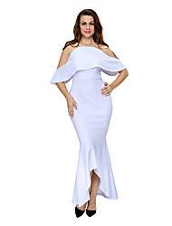 Women's Off The Shoulder Ruffled Sleeves High-low Hem Party Maxi Dress