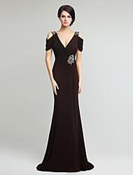 Русалка / труба V-образным вырезом длина пола тюль мать невесты платье с бисером стороны драпировки
