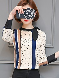 cheap -Women's Daily Formal Work Casual Street chic Blouse,Polka Dot Stand Long Sleeves Polyester