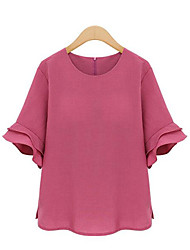 cheap -Women's Plus Size Cute Street chic Spring Summer Blouse,Solid Round Neck Short Sleeves Polyester Thin