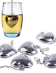 2pcs coração em forma de chá infuser colher coador de aço inoxidável mais íngreme chuveiro do punho