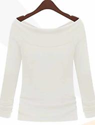 European style new women sexy collar shirt around two wear strapless long-sleeved T-shirt