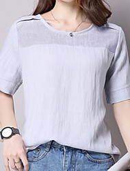 Sign 2016 summer new cotton short-sleeved blouse hollow solid color round neck T-shirt large size small shirt