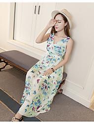 Véritable coup d'été nouvelle tempête dame papillons v-cou mince mis sur une grande robe de mariée en mousseline imprimé robe