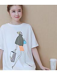 Sign maternidade 2017 verão novo solto grandes jardas seção longa algodão t-shirt maré de camisa de manga curta