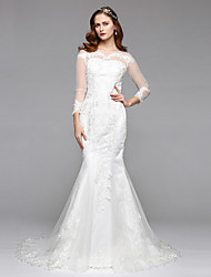 cheap -Mermaid / Trumpet Illusion Neckline Chapel Train Lace Tulle Wedding Dress with Lace by LAN TING BRIDE®