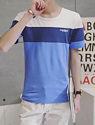 Лето новый трехцветный сшивание вокруг шеи короткий рукав футболки супермаркет