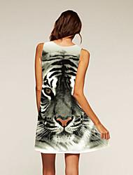 Damen Swing Kleid-Ausgehen Lässig/Alltäglich Leopard Rundhalsausschnitt Asymmetrisch Ärmellos Polyester Sommer Mittlere Hüfthöhe