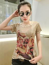 2017 produits européens été nouveau t-shirt à manches courtes version féminine coréenne de slim décontracté était mince t-shirt impression