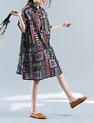 sinal longa seção nova de algodão floral retro solto vestido de mangas curtas 2017 verão
