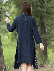 nouvelles femmes&# 39; vent national couture ourlet irrégulier à manches longues robe