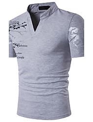 cheap -Men's Active Cotton Slim Polo - Graphic Print Stand / Short Sleeve