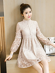 Women's Dailywear Evening Party Date Street Birthday Party Cute A Line Dress,Solid Color Stand Above Knee, Mini Long Sleeves LaceSpring