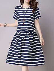 cheap -Women's Work Holiday Cute Chinoiserie Loose Dress - Striped