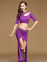 baratos -Devemos roupas de dança da barriga Mulheres treino modal split front top skirt